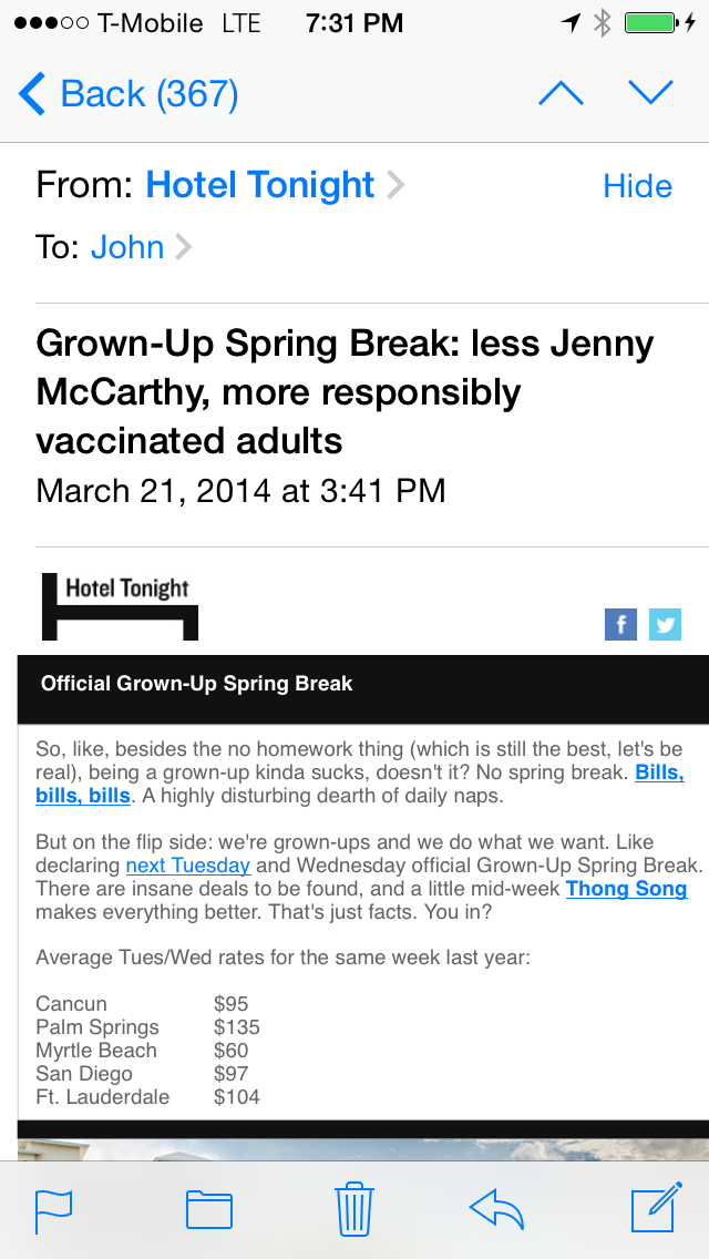 Hotel Tonight Travel App's E-Mail Marketing Makes Fun Of Actress Jenny McCarthy For Questioning Vaccines