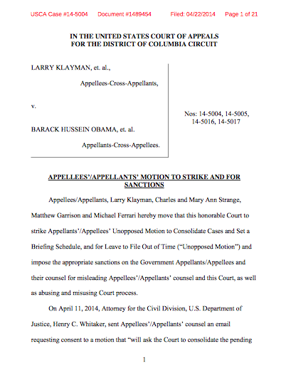 Motion filed in NSA case: Appellees'/appellants'...