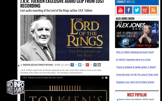 J.R.R Tolkien Lost Recording Exposes NWO
