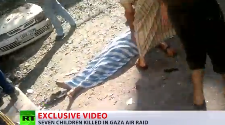 GRAPHIC: Children killed in missile attack on Gaza...