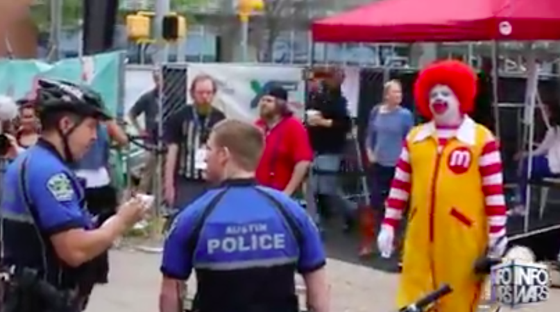 Bizarro McDonald's Mascot Exposes Dangerous Chemicals And Additives In McDonalds Food At #SXSW In Austin