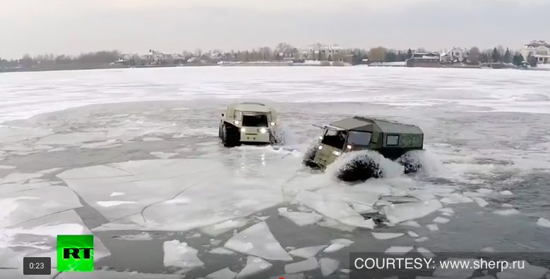 Russian badass lunar-rover like truck storms swamps, lakes, forests