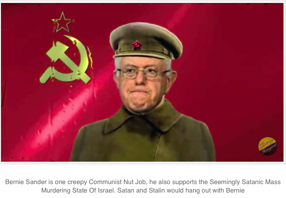 Bernie Sander is one creepy Communist Nut Job, he also supports the Seemingly Satanic Mass Murdering State Of Israel. Satan and Stalin would hang out with Bernie
