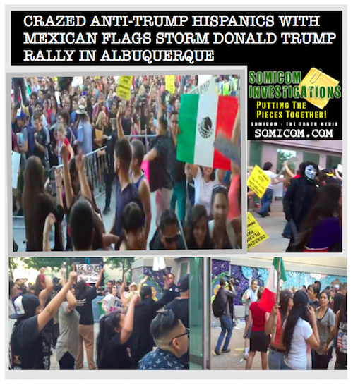 Crazed Anti-Trump Hispanics With Mexican Flags Storm...