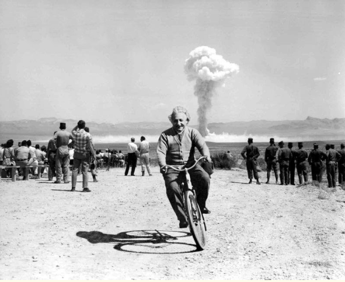 ONE OF THE GREATEST FRAUDSTERS, PLAGURISTS AND PHONY POPULAR PHILOSOPHERS IN SCIENTIFIC HISTORY ALBERT EINSTEIN MAKES NO SECRET OF HIS JOY AS HE DOES A TRIUMPHANT TWIRL ON HIS BICYCLE DURING AN ATOMIC TEST. EINSTEIN HAD STOLEN THE WORK OF TWO LESSER KNOWN SCIENTISTS TO DEVELOPE HIS E=MC2 THEORY WHICH HAS INCIDENTALLY NOW BEEN PROVED TO BE WRONG. A THEORY MUCH HERALDED EVER SINCE BY THE TRANSNATIONAL JEWSMEDIA WHO BRAINWASH THE PUBLIC AT EVERY OPPORTUNITY (REPEAT A LIE LONG ENOUGH AND OFTEN ENOUGH) TO VENERATE HIM AMONG WITH OTHER SUPPOSEDLY GREAT MEDIA PROMOTED FALSE GODS LIKE NELSON MANDELA, CHE GUAVARA, VLADAMIR LENIN, MARTIN LUTHER KING JNR AND ANNE FRANK.