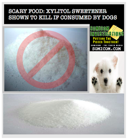 Xylitol sweetener shown to kill if consumed by dogs...