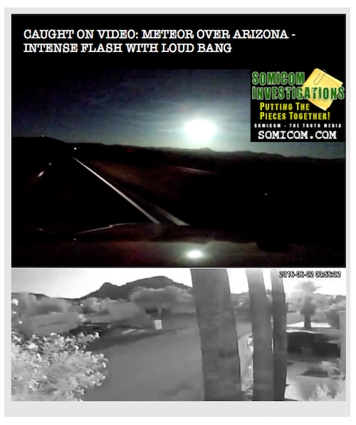 Caught On Video: Meteor over Arizona - Intense Flash With Loud Bang
