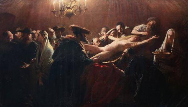 "Allegedly this taboo-breaking piece of art was a very secret work of Hungarian painter genius, Munkácsy Mihály, realized between 1882-1887, at the request of Russian tzar, Alexander III, and inspired by the world-famous Tiszaeszlár Affair (Hungary, 1882), which was a blood-libel directed against a group of Jews, who murdered 14 year-old Solymosi Eszter inside a sacrificial ritual. The painting is absolutely monumental in depicting Jewish thirst for ""goyim"" blood. The young girl can also represent modern Europe as being encircled by demonic Zionists and prepared for being crucified."