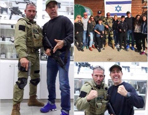 """Jerry Seinfeld poses for photos with trainers at a """"counter-terror fantasy camp"""" in an Israeli settlement in the West Bank. 