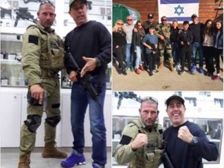 "Jerry Seinfeld poses for photos with trainers at a ""counter-terror fantasy camp"" in an Israeli settlement in the West Bank. 
